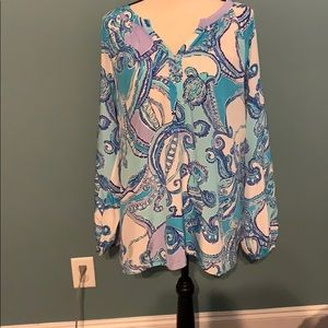 Lilly Pulitzer Collection silk top XL
